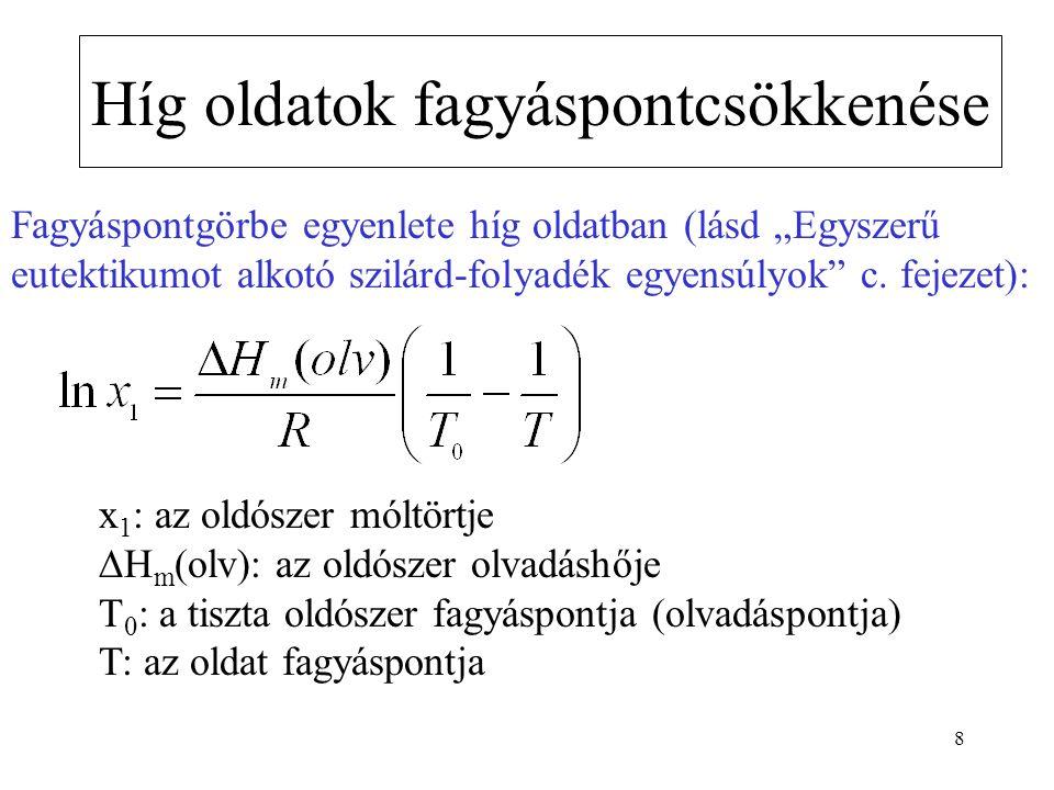 """8 Híg oldatok fagyáspontcsökkenése Fagyáspontgörbe egyenlete híg oldatban (lásd """"Egyszerű eutektikumot alkotó szilárd-folyadék egyensúlyok"""" c. fejezet"""