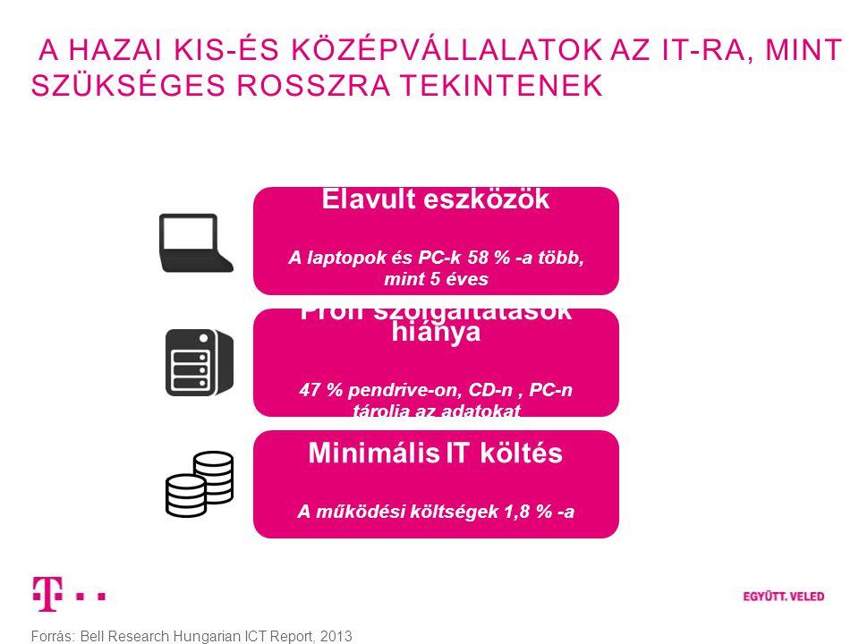 A HAZAI KIS-ÉS KÖZÉPVÁLLALATOK AZ IT-RA, MINT SZÜKSÉGES ROSSZRA TEKINTENEK Forrás: Bell Research Hungarian ICT Report, 2013 Minimális IT költés A műkö