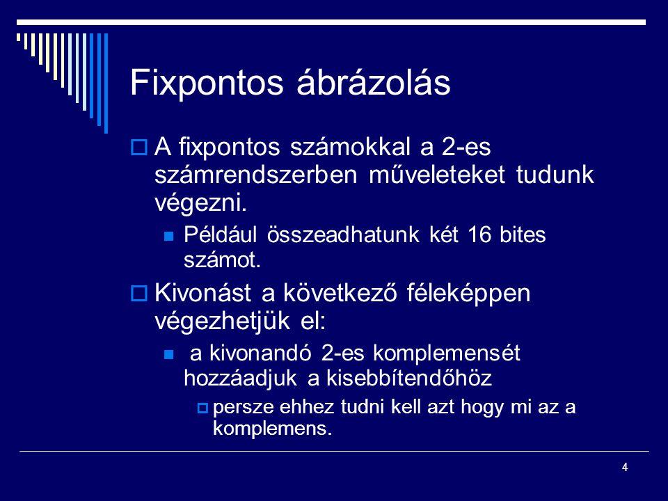 Fixpontos ábrázolás  A fixpontos számokkal a 2-es számrendszerben műveleteket tudunk végezni. Például összeadhatunk két 16 bites számot.  Kivonást a