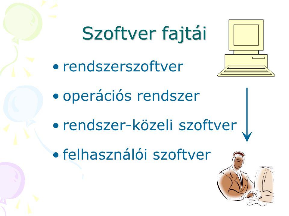 Rendszerszoftver ezek nélkül a számítógép nem működtethető feladatai: –adattárolás, adatmozgatás –programok futtatása nem alkalmas arra, hogy a felhasználó által megfogalmazott feladatokat megoldja