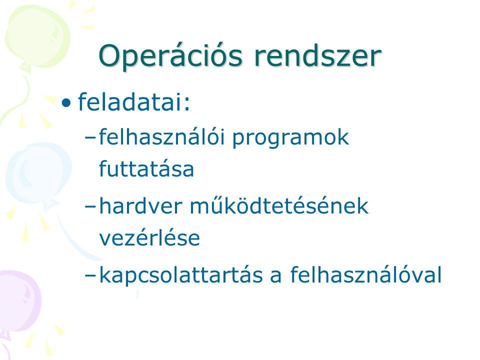 Operációs rendszer feladatai: –felhasználói programok futtatása –hardver működtetésének vezérlése –kapcsolattartás a felhasználóval