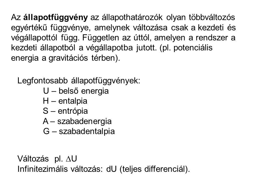 Az entalpia Az első főtétel: Ha nincs munka (  V=0), a belsőenergia-változás a hővel egyenlő.