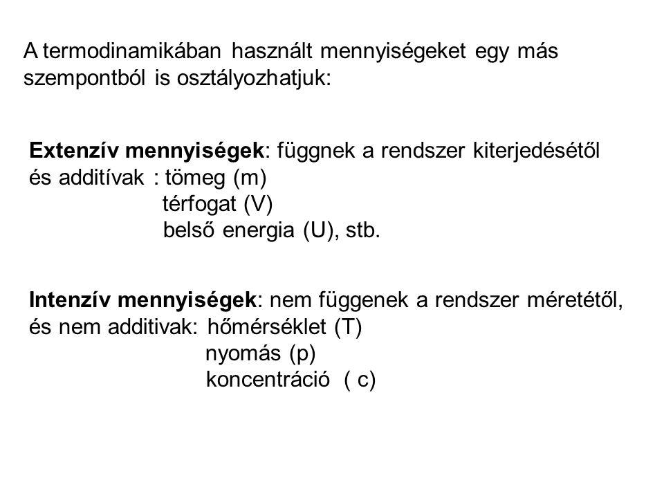 Entalpia-változás: Izosztér (izochor) Térfogati munka: Hő (belsőenergia-változás): W = 0