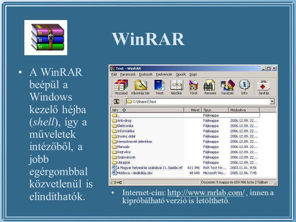 WinRAR A WinRAR beépül a Windows kezelő héjba (shell), így a műveletek intézőből, a jobb egérgombbal közvetlenül is elindíthatók. Internet-cím: http:/