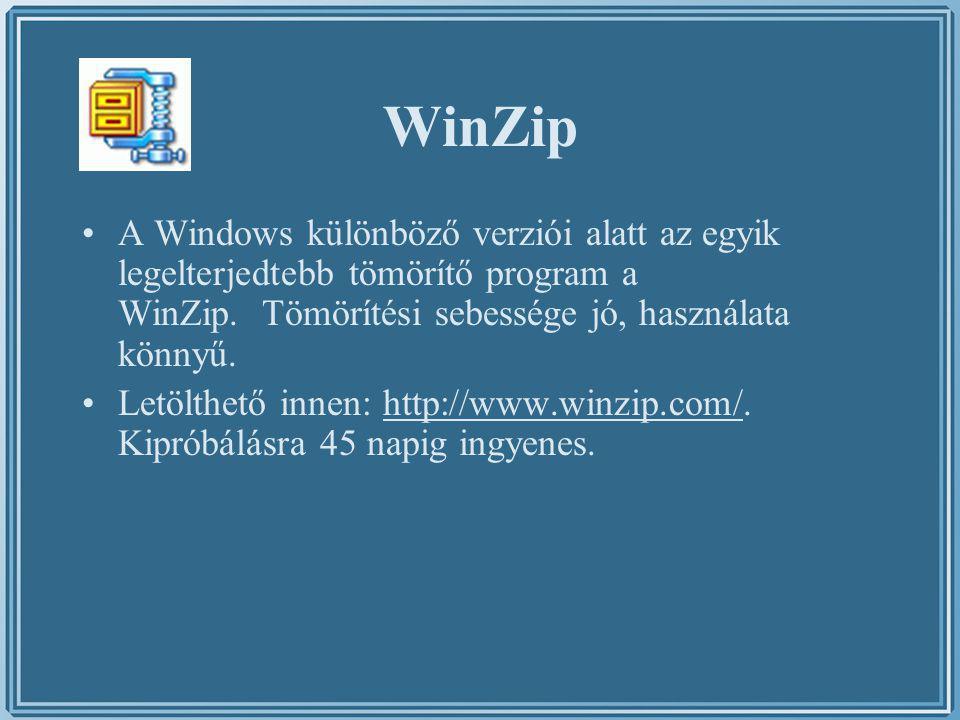 WinZip A Windows különböző verziói alatt az egyik legelterjedtebb tömörítő program a WinZip. Tömörítési sebessége jó, használata könnyű. Letölthető in