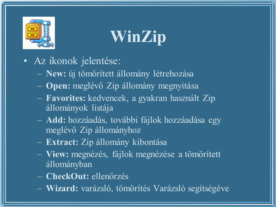 WinZip Az ikonok jelentése: –New: új tömörített állomány létrehozása –Open: meglévő Zip állomány megnyitása –Favorites: kedvencek, a gyakran használt