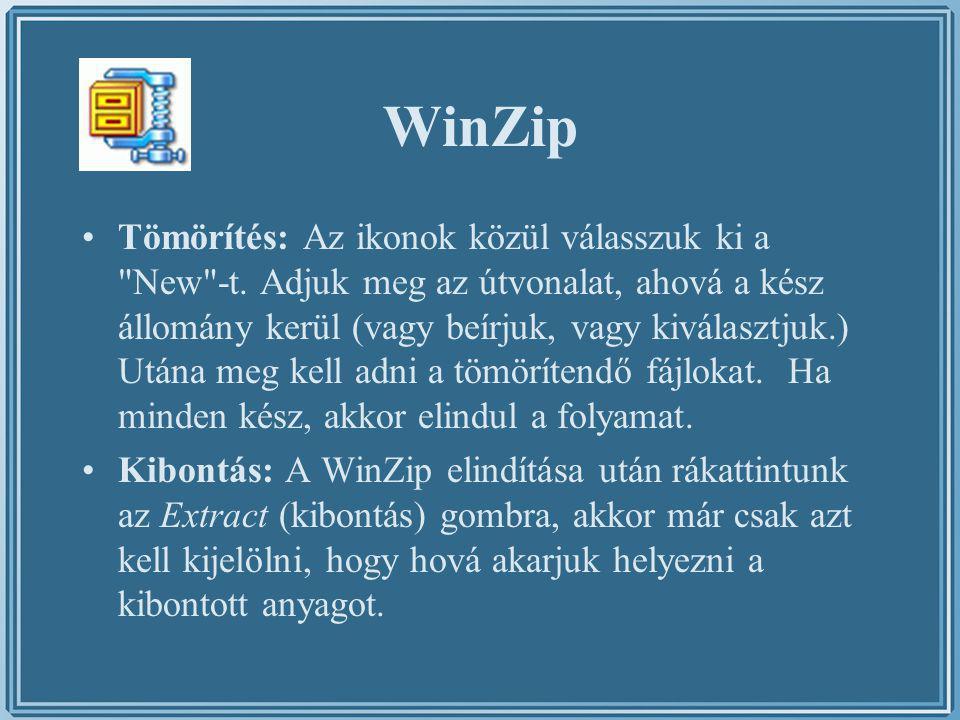 WinZip Tömörítés: Az ikonok közül válasszuk ki a