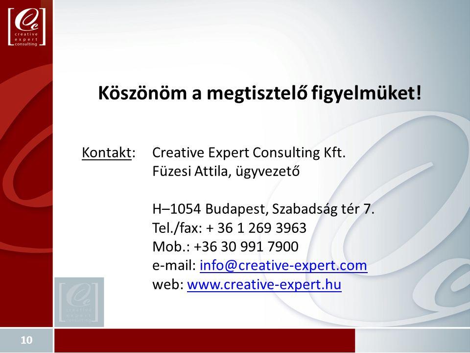 Köszönöm a megtisztelő figyelmüket. Kontakt:Creative Expert Consulting Kft.