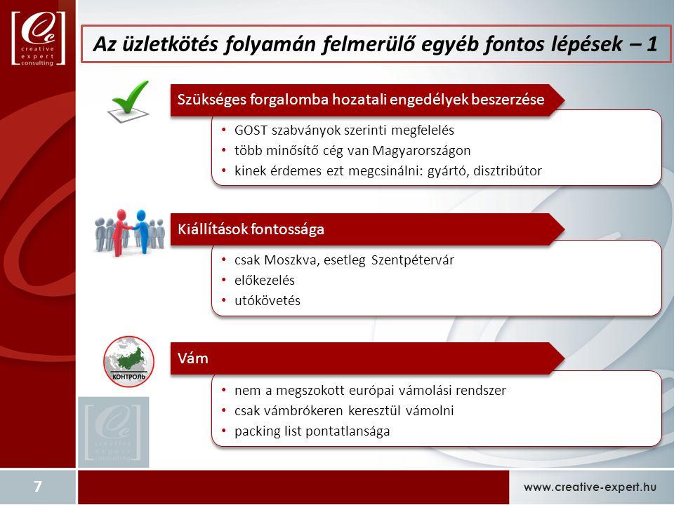 www.creative-expert.hu 7 GOST szabványok szerinti megfelelés több minősítő cég van Magyarországon kinek érdemes ezt megcsinálni: gyártó, disztribútor GOST szabványok szerinti megfelelés több minősítő cég van Magyarországon kinek érdemes ezt megcsinálni: gyártó, disztribútor Szükséges forgalomba hozatali engedélyek beszerzése nem a megszokott európai vámolási rendszer csak vámbrókeren keresztül vámolni packing list pontatlansága nem a megszokott európai vámolási rendszer csak vámbrókeren keresztül vámolni packing list pontatlansága Vám csak Moszkva, esetleg Szentpétervár előkezelés utókövetés csak Moszkva, esetleg Szentpétervár előkezelés utókövetés Kiállítások fontossága Az üzletkötés folyamán felmerülő egyéb fontos lépések – 1