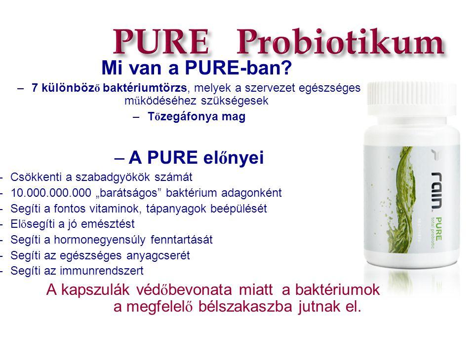 Mi van a PURE-ban? –7 különböz ő baktériumtörzs, melyek a szervezet egészséges m ű ködéséhez szükségesek –T ő zegáfonya mag –A PURE el ő nyei –Csökken