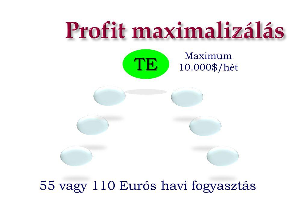 Maximum 10.000$/hét TE 55 vagy 110 Eurós havi fogyasztás