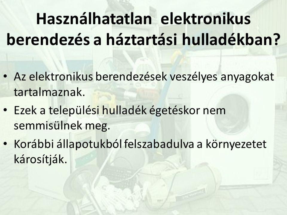 Használhatatlan elektronikus berendezés a háztartási hulladékban.