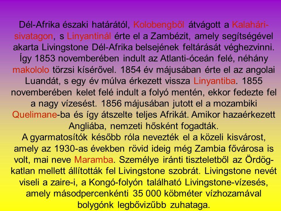 Dél-Afrika északi határától, Kolobengből átvágott a Kalahári- sivatagon, s Linyantinál érte el a Zambézit, amely segítségével akarta Livingstone Dél-Afrika belsejének feltárását véghezvinni.