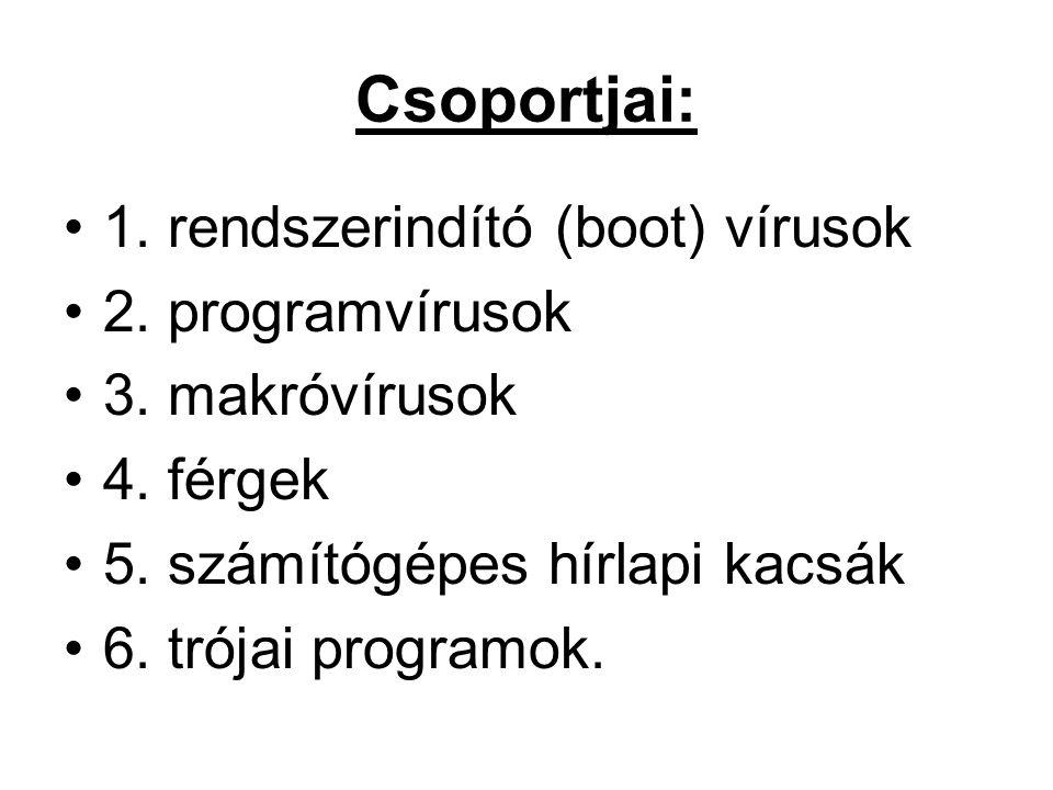 Csoportjai: 1. rendszerindító (boot) vírusok 2. programvírusok 3. makróvírusok 4. férgek 5. számítógépes hírlapi kacsák 6. trójai programok.