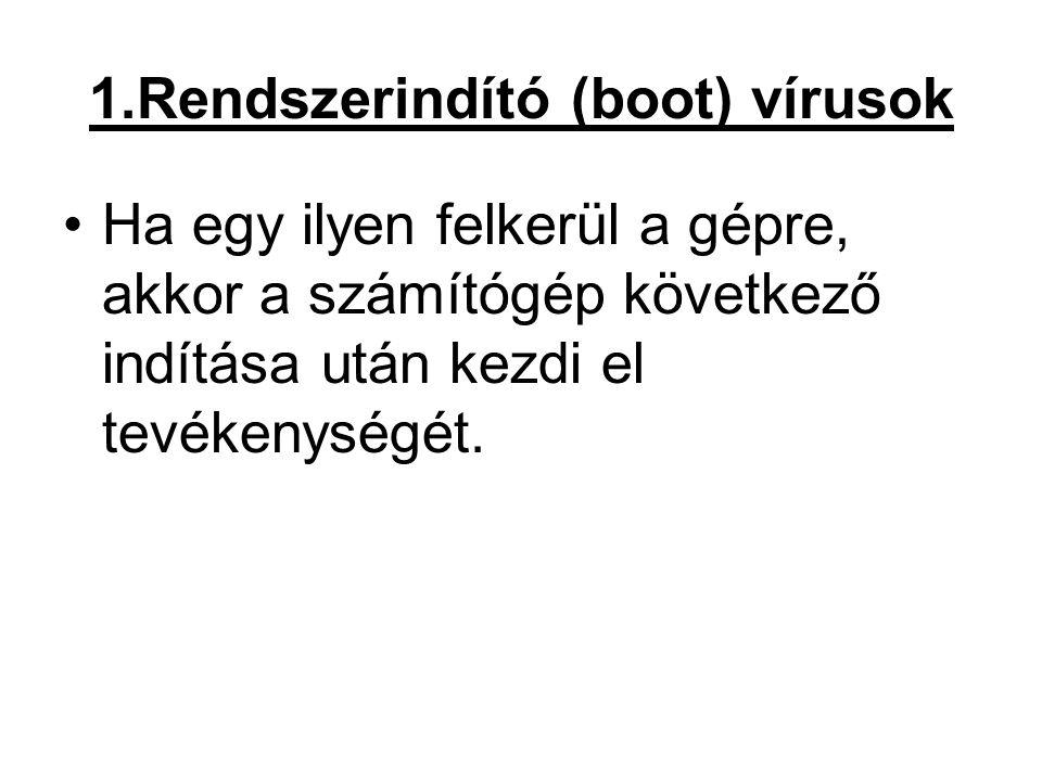 2.Programvírusok A vírusok jelentős része ide sorolható.
