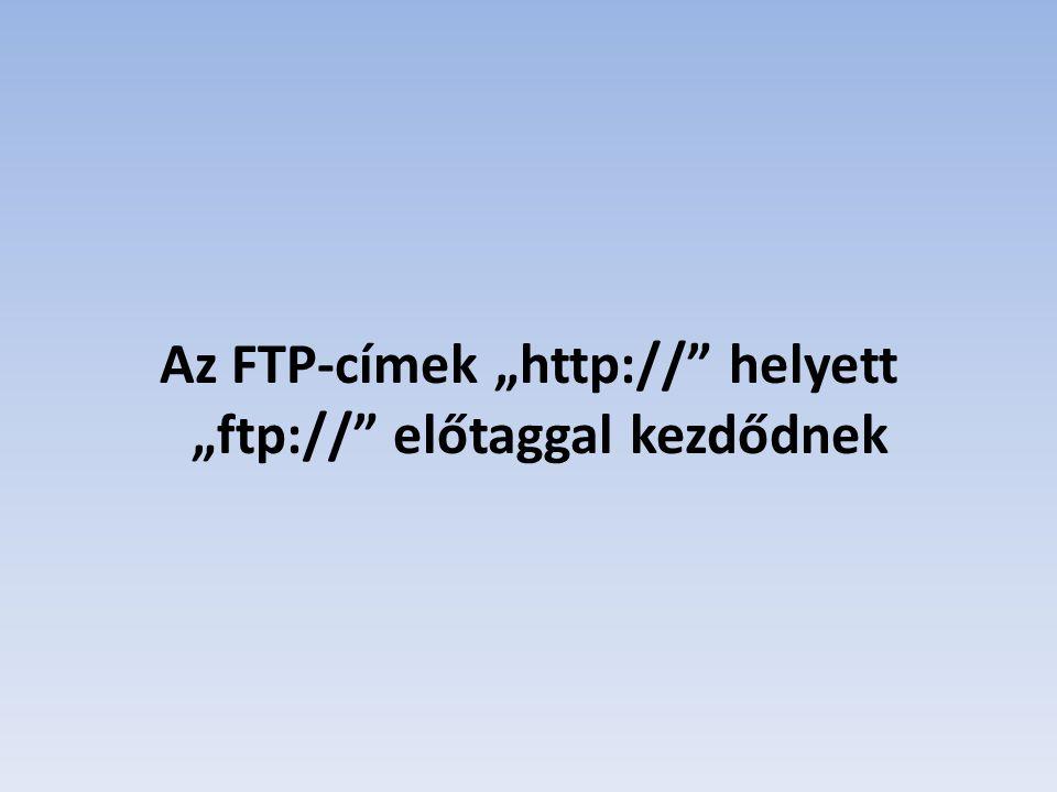 """Az FTP-címek """"http:// helyett """"ftp:// előtaggal kezdődnek"""