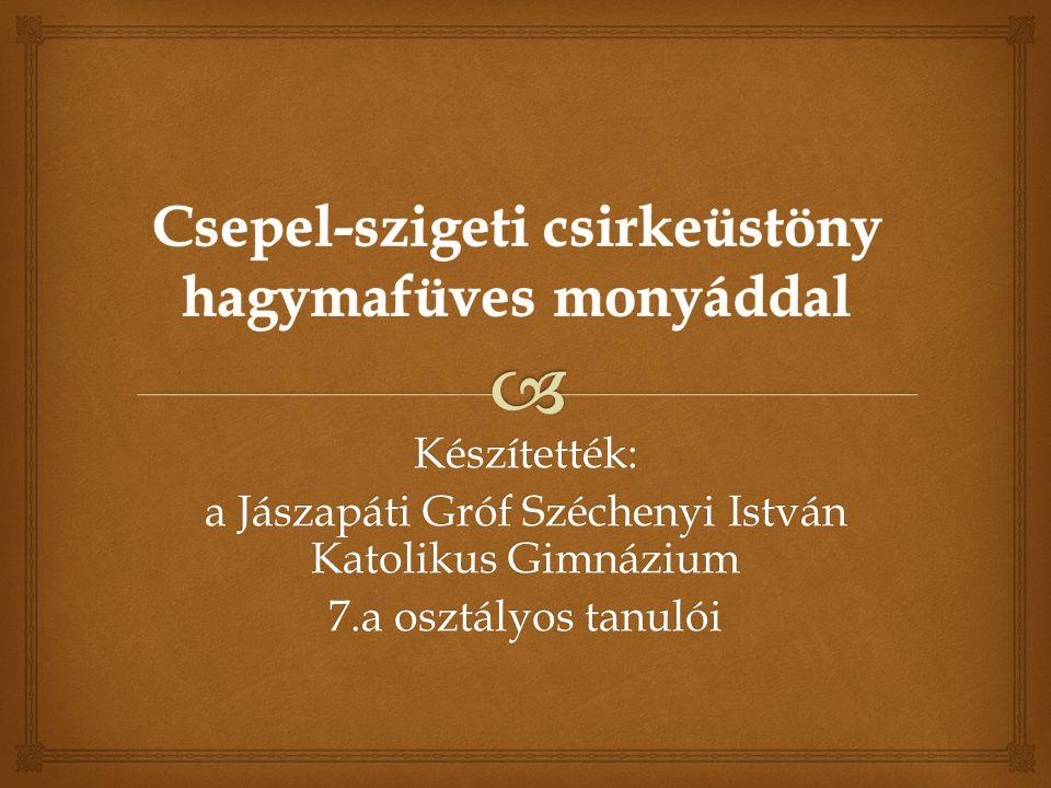 Készítették: a Jászapáti Gróf Széchenyi István Katolikus Gimnázium 7.a osztályos tanulói