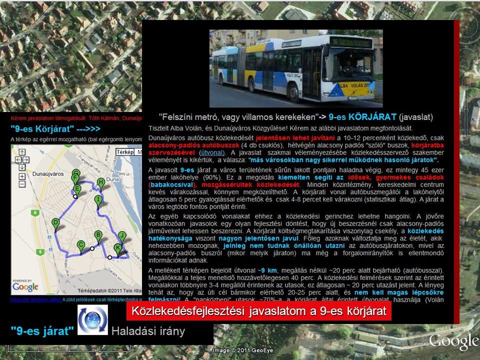 Közlekedésfejlesztési javaslatom a 9-es körjárat