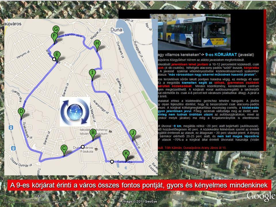 A 9-es körjárat érinti a város összes fontos pontját, gyors és kényelmes mindenkinek