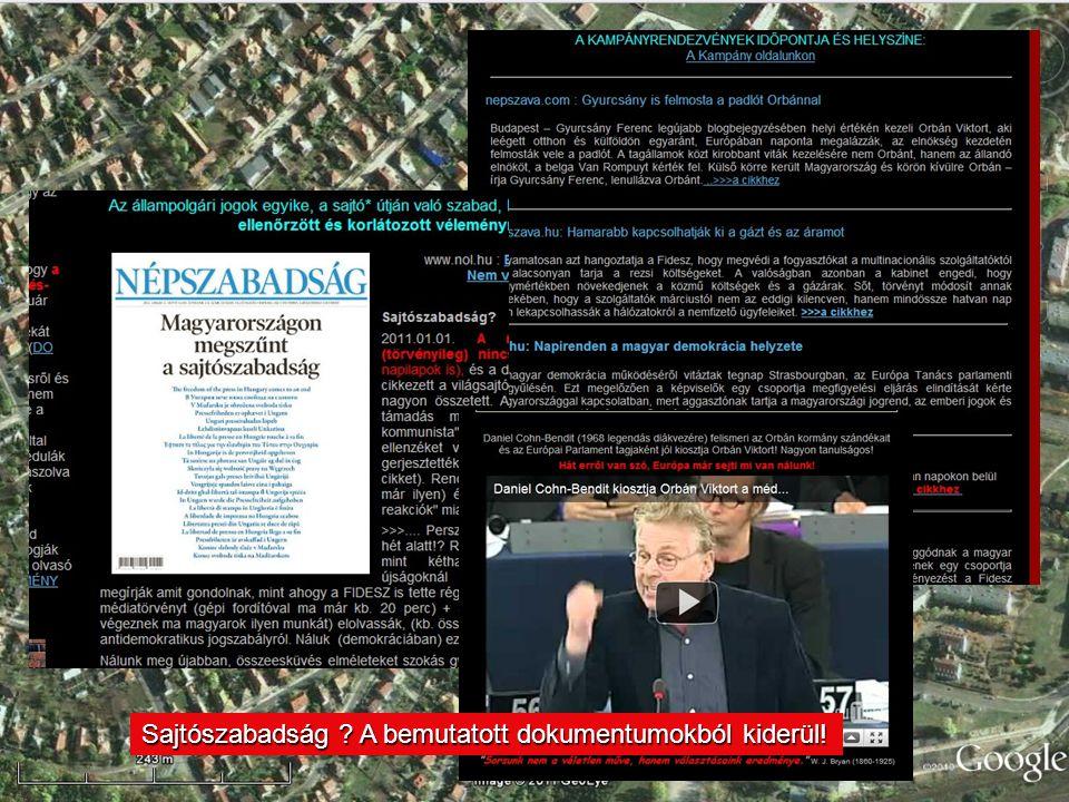 Sajtószabadság A bemutatott dokumentumokból kiderül!