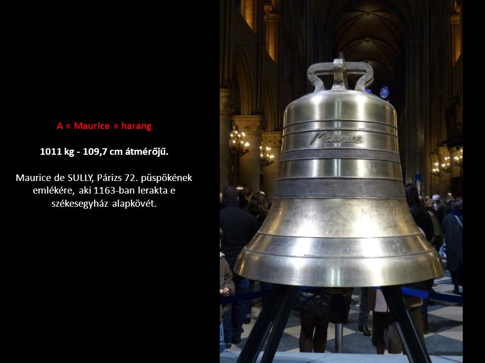 A « Maurice » harang 1011 kg - 109,7 cm átmérőjű.Maurice de SULLY, Párizs 72.