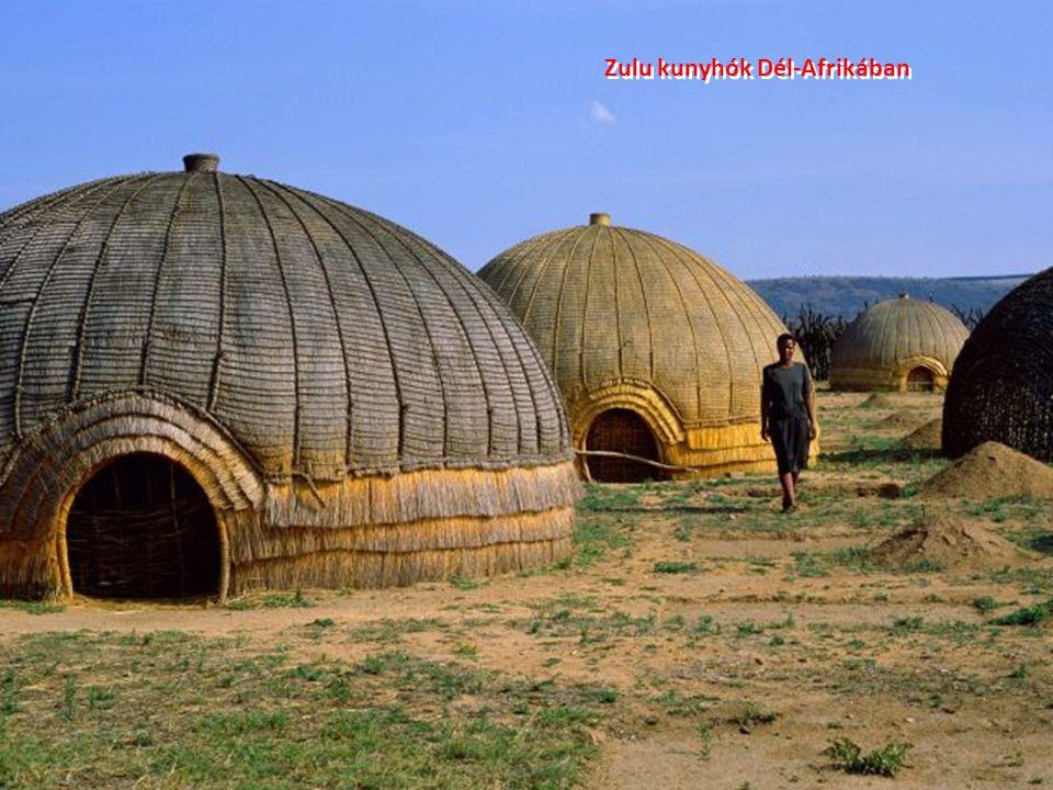Zulu kunyhók Dél-Afrikában