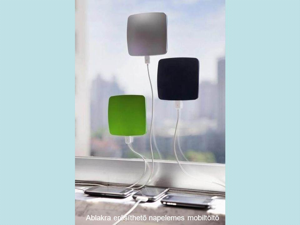 Ablakra erősíthető napelemes mobiltöltő