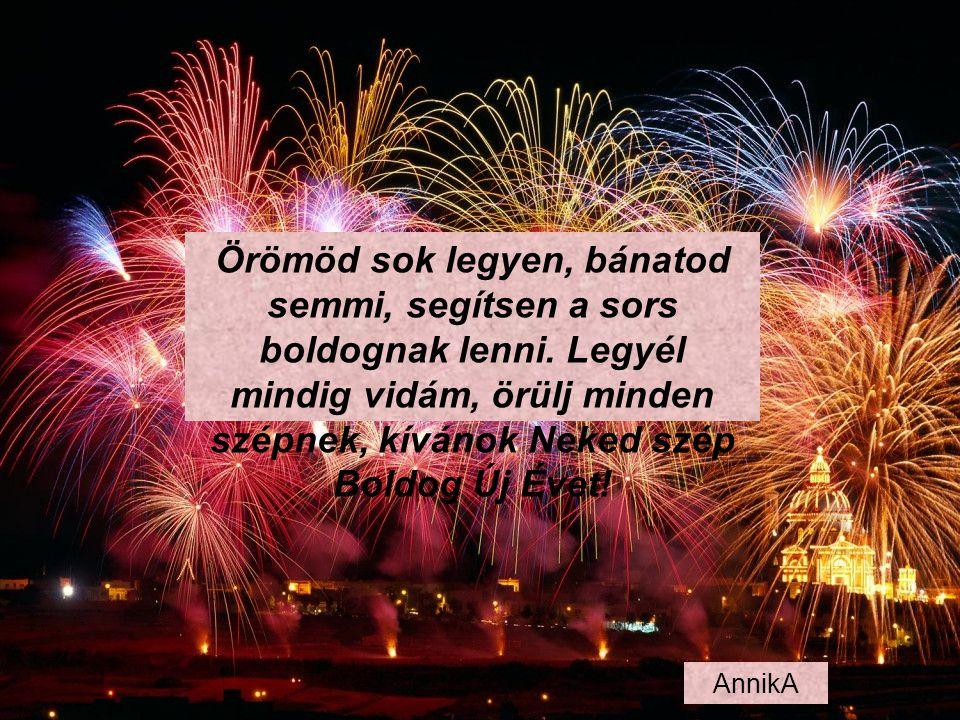 Virradjon rád szép nap, Köszöntsön rád jó év, Kedves hajlékodba költözzön a jólét, Lelkedbe boldogság, a szívedbe béke, ezt kívánom Neked az újévre!