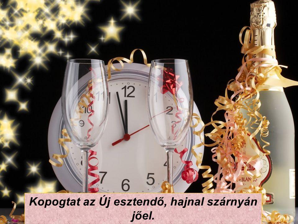 Újévi kismalac farka lógjon a szádba, hajnali 6 előtt ne kerülj az ágyba! Durranjon a pezsgő, szóljon hát az ének, ilyen boldog új évet kívánok én Nék