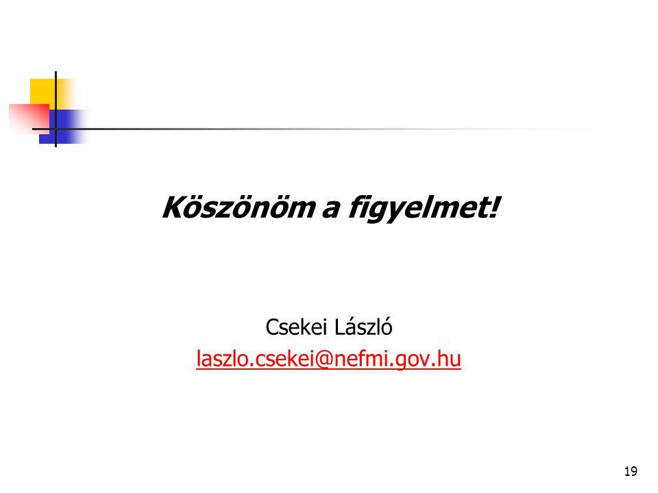 19 Köszönöm a figyelmet! Csekei László laszlo.csekei@nefmi.gov.hu