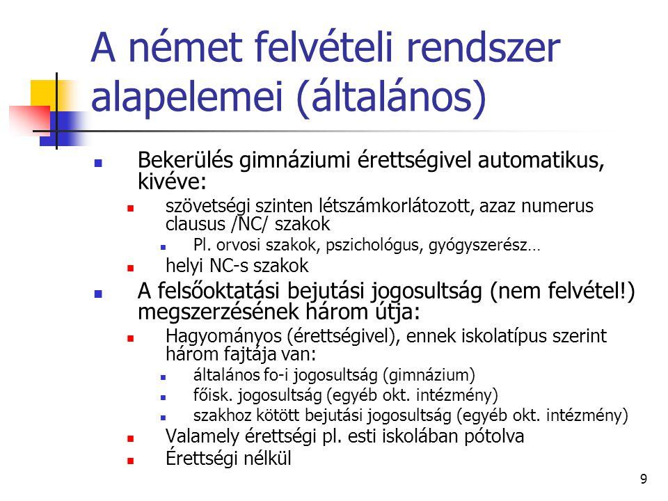 9 A német felvételi rendszer alapelemei (általános) Bekerülés gimnáziumi érettségivel automatikus, kivéve: szövetségi szinten létszámkorlátozott, azaz numerus clausus /NC/ szakok Pl.