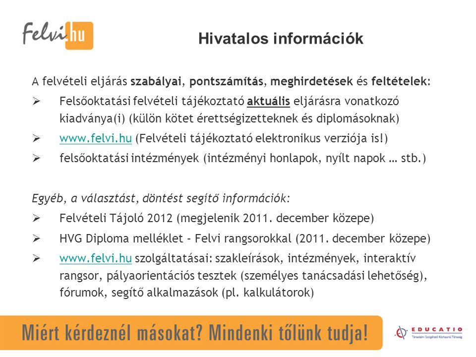 Hivatalos információk A felvételi eljárás szabályai, pontszámítás, meghirdetések és feltételek:  Felsőoktatási felvételi tájékoztató aktuális eljárásra vonatkozó kiadványa(i) (külön kötet érettségizetteknek és diplomásoknak)  www.felvi.hu (Felvételi tájékoztató elektronikus verziója is!) www.felvi.hu  felsőoktatási intézmények (intézményi honlapok, nyílt napok … stb.) Egyéb, a választást, döntést segítő információk:  Felvételi Tájoló 2012 (megjelenik 2011.
