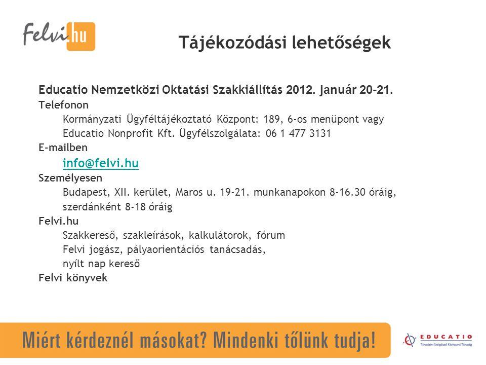 Tájékozódási lehetőségek Educatio Nemzetközi Oktatási Szakkiállítás 2012.