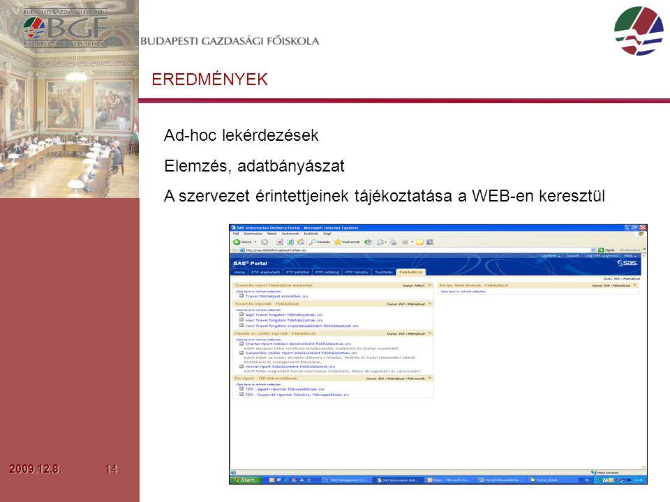 2009.12.8.14 EREDMÉNYEK Ad-hoc lekérdezések Elemzés, adatbányászat A szervezet érintettjeinek tájékoztatása a WEB-en keresztül