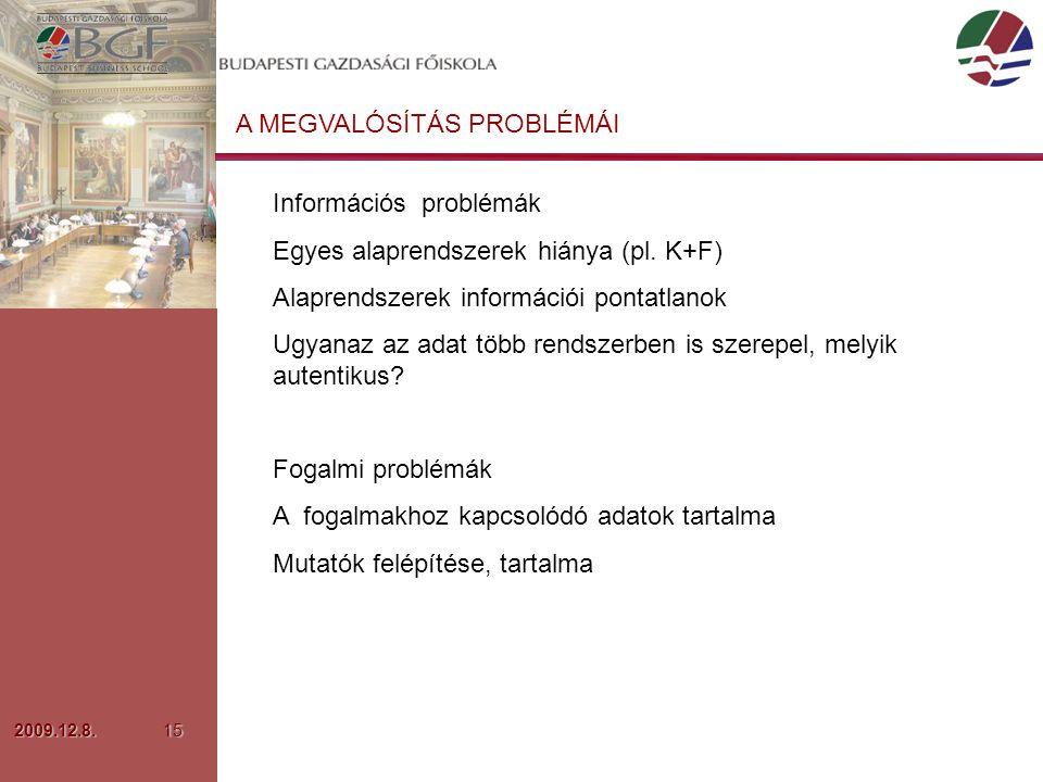 2009.12.8.15 A MEGVALÓSÍTÁS PROBLÉMÁI Információs problémák Egyes alaprendszerek hiánya (pl.