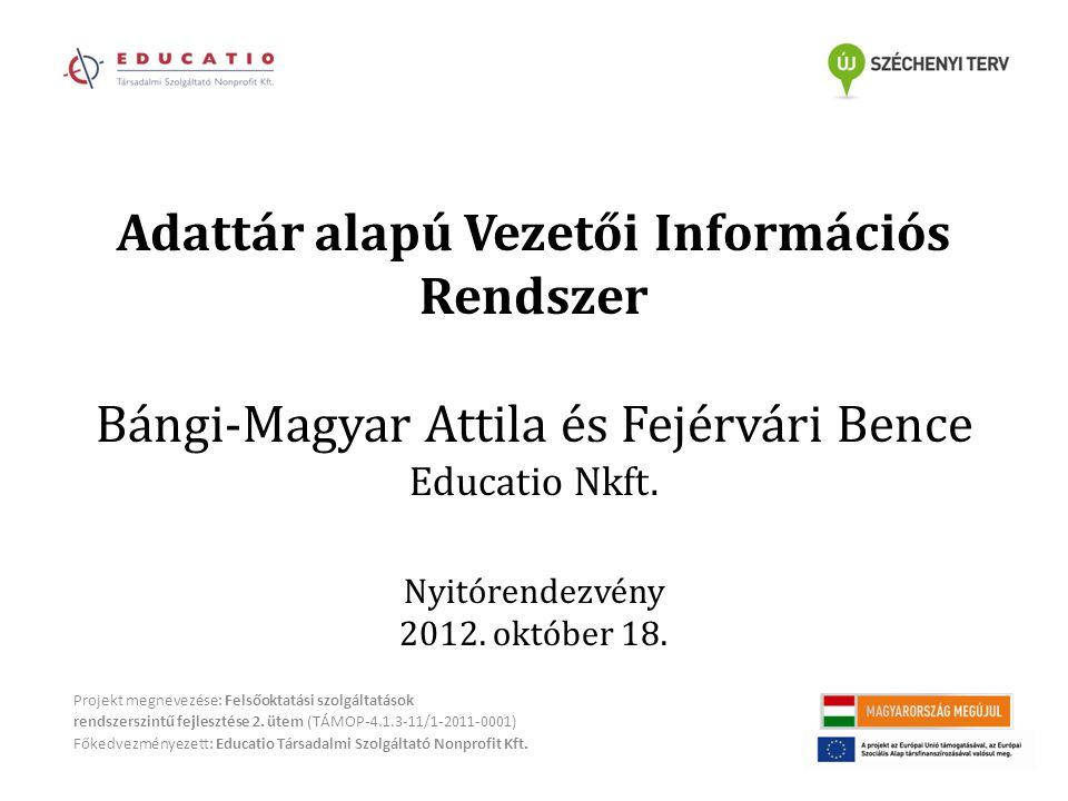 Adattár alapú Vezetői Információs Rendszer Bángi-Magyar Attila és Fejérvári Bence Educatio Nkft.