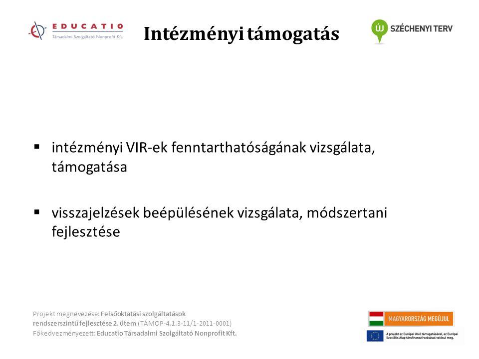 Intézményi támogatás Projekt megnevezése: Felsőoktatási szolgáltatások rendszerszintű fejlesztése 2.