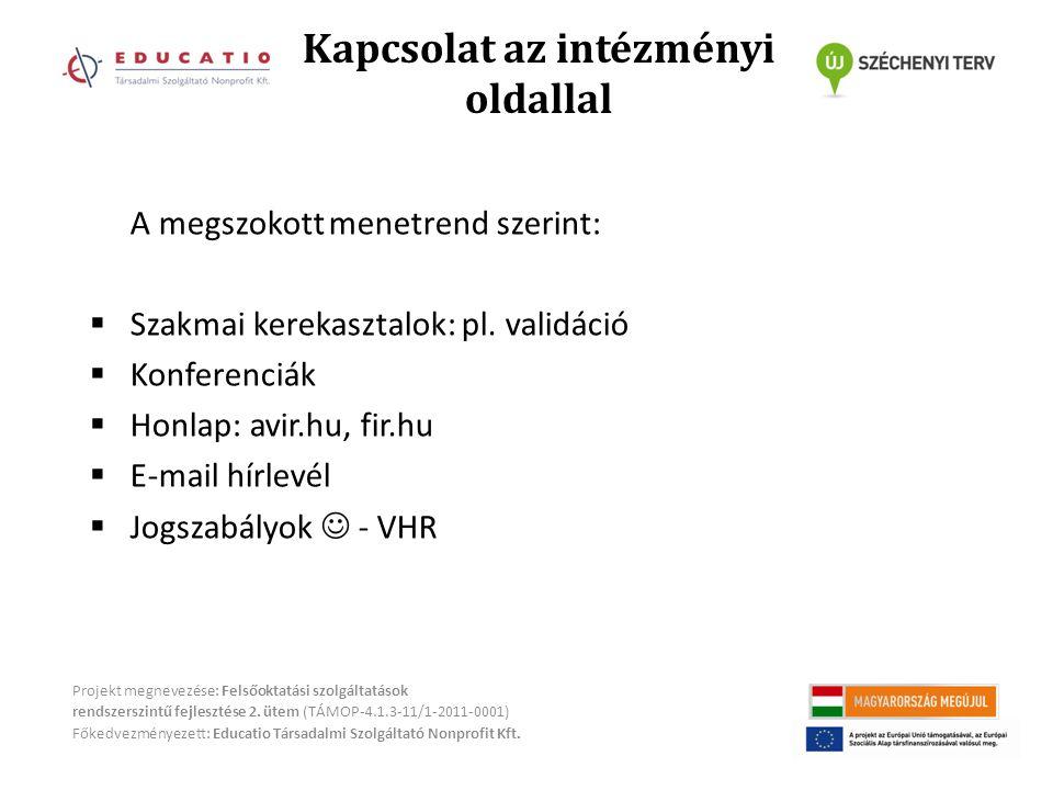 Kapcsolat az intézményi oldallal Projekt megnevezése: Felsőoktatási szolgáltatások rendszerszintű fejlesztése 2.