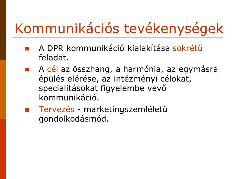 Kommunikációs tevékenységek A DPR kommunikáció kialakítása sokrétű feladat. A cél az összhang, a harmónia, az egymásra épülés elérése, az intézményi c