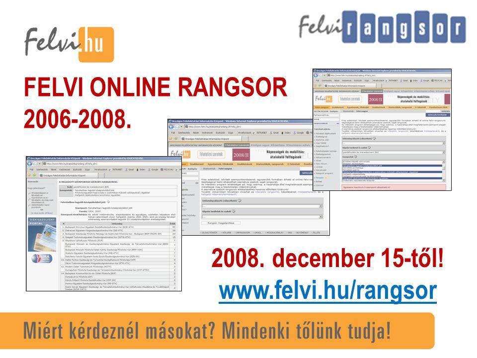 FELVI ONLINE RANGSOR 2006-2008. 2008. december 15-től! www.felvi.hu/rangsor
