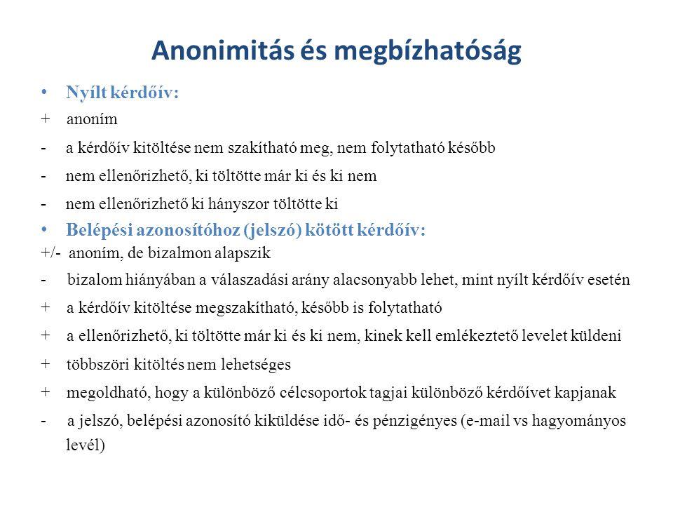 Anonimitás és megbízhatóság Nyílt kérdőív: + anoním -a kérdőív kitöltése nem szakítható meg, nem folytatható később -nem ellenőrizhető, ki töltötte má