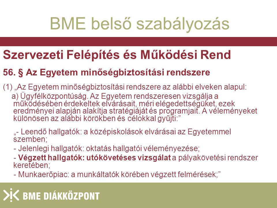 2004.január 27. BME belső szabályozás Szervezeti Felépítés és Működési Rend 56.