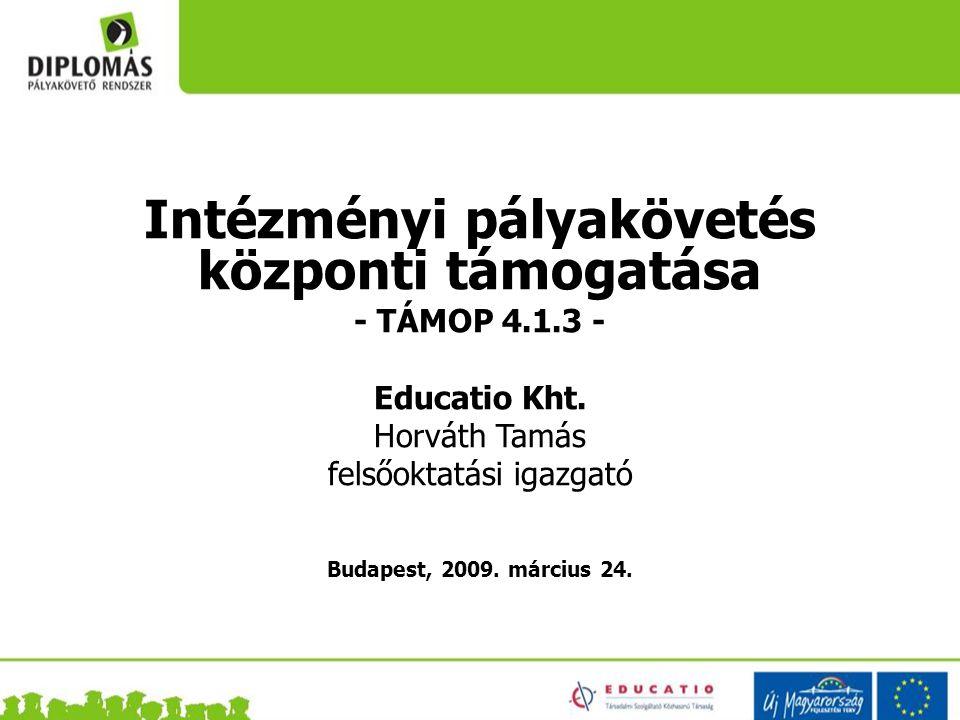 Intézményi pályakövetés központi támogatása - TÁMOP 4.1.3 - Educatio Kht. Horváth Tamás felsőoktatási igazgató Budapest, 2009. március 24.