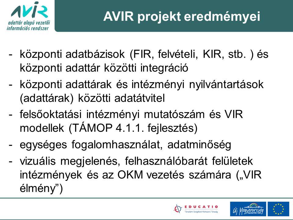 -központi adatbázisok (FIR, felvételi, KIR, stb.