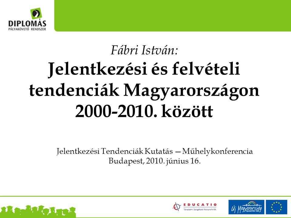 Jelentkezési Tendenciák Kutatás —Műhelykonferencia Budapest, 2010.