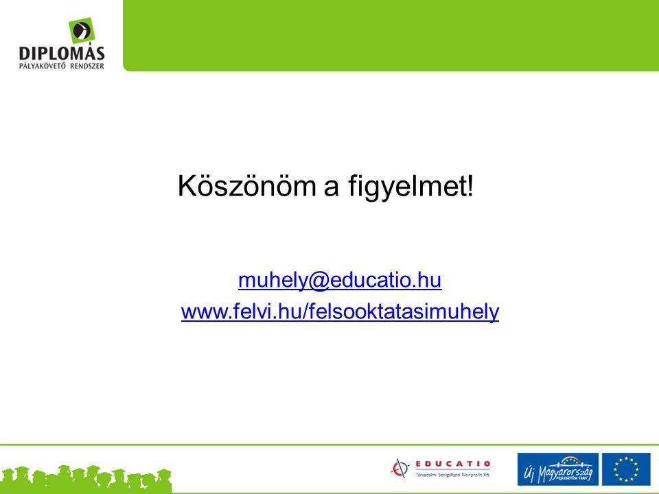 Köszönöm a figyelmet! muhely@educatio.hu www.felvi.hu/felsooktatasimuhely