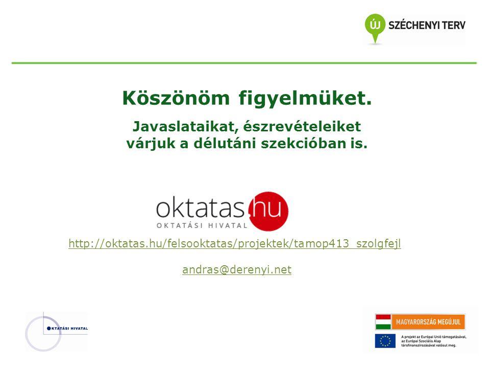Köszönöm figyelmüket. Javaslataikat, észrevételeiket várjuk a délutáni szekcióban is. http://oktatas.hu/felsooktatas/projektek/tamop413_szolgfejl andr