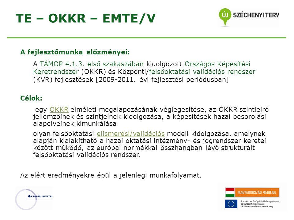 TE – OKKR – EMTE/V A fejlesztőmunka előzményei: A TÁMOP 4.1.3. első szakaszában kidolgozott Országos Képesítési Keretrendszer (OKKR) és Központi/felső