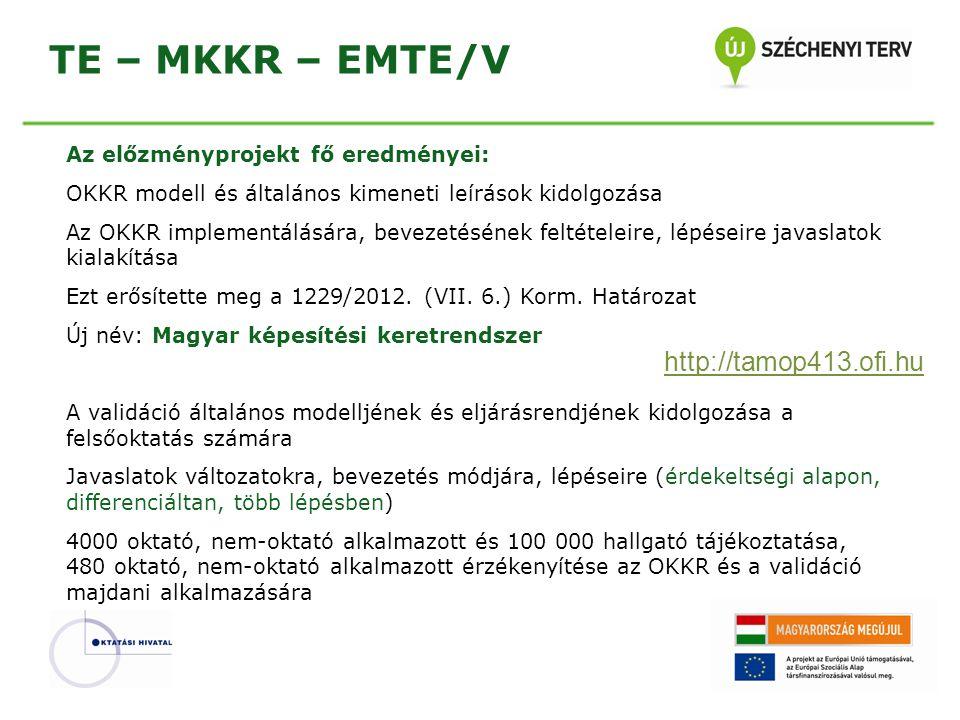 TE – MKKR – EMTE/V Az előzményprojekt fő eredményei: OKKR modell és általános kimeneti leírások kidolgozása Az OKKR implementálására, bevezetésének fe
