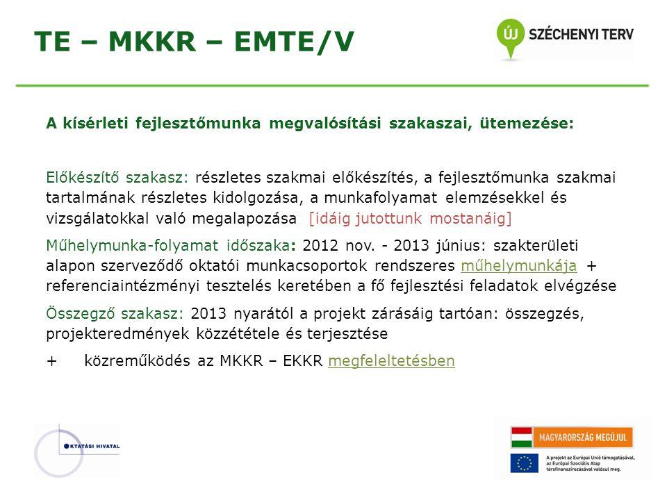 TE – MKKR – EMTE/V A kísérleti fejlesztőmunka megvalósítási szakaszai, ütemezése: Előkészítő szakasz: részletes szakmai előkészítés, a fejlesztőmunka